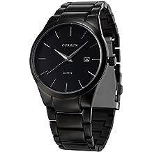 AMPM24 Analog Herren Armbanduhr Quarzuhr mit Schwarze Armband aus Metall Datumanzeige CUR048 + Geschenkbox