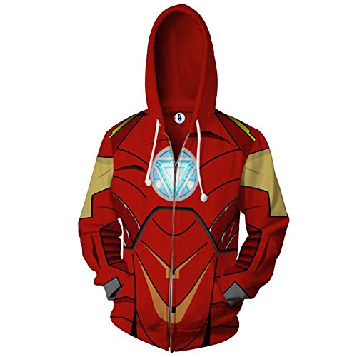 Mann Superhelden Kostüm - Wild WY Marvel Avengers Superheld Hoodie Cosplay Kostüm Teens Anime Reißverschluss Baumwolle Jacke Sweatshirt Kleidung Top Für Männer Und Frauen Red-XXL