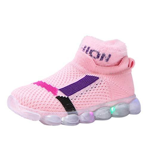 catmoew (15M-7J Kinder Winter LED Leuchtende Schuhe Baby Jungen Mädchen Fliegendes Weben Leuchtend Sport Socken Schuhe Mesh Turnschuhe Baumwolle Sneakers Schuhe