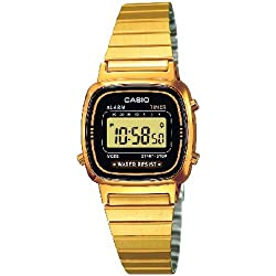 CASIO La670Wega-1Ef - Reloj de mujer de cuarzo, correa de acero inoxidable color oro