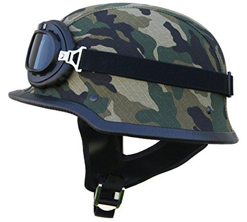Ato wh g - casco per moto stile militare con occhiali da aviatore, colore mimetico o nero opaco