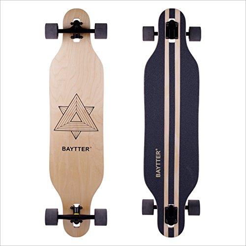 BAYTTER® 41 Zoll Cooles Skateboard Komplettboard Longboard Cruiser Board aus 9-lagigem Ahornholz 104 x 24 x 10.5cm für Kinder Jugendliche und Erwachsene mit ABEC-11 Kugellager und 7051 PU Rollen (Geometrie)