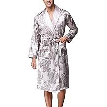 Hombres Manga Larga Pijamas Seda Sección Delgada Albornoces Transpirables Pijamas