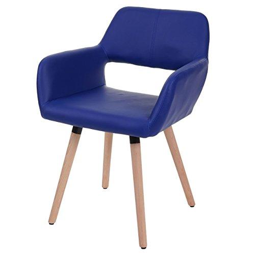 Chaise de Salle à Manger HWC-A50 II, Fauteuil, Design rétro des années 50 ~ Similicuir, Bleu