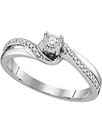 Sólido 10 K oro blanco redondo blanco diamante anillo de compromiso o moda banda Solitaire anillo