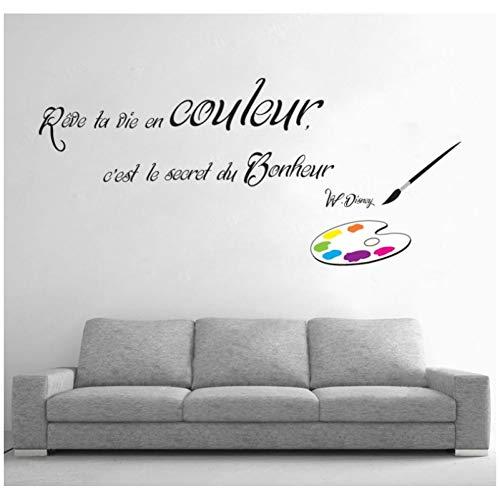 Zitat Brief Pinsel Wohnzimmer Wand Art-Deco-Aufkleber können entfernt Werden 70 * 50Cm ()
