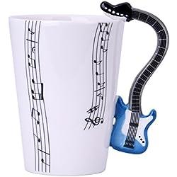 Tazas desayuno, Cozyswan Taza Cerámica Guitarra, Capacidad Medio 300ml, Regalos Originales para Amigos, Famila