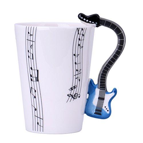 Cozyswan Gitarre Tasse Kaffeebecher Porzellan Mug Musik Tasse Keramiktasse mit Geschenkschachtel