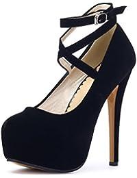 3a9bb089189e OCHENTA Femme Escarpins Bride Cheville Sexy Talon Aiguille Plateforme Epais  Fermeture Lacets Chaussures Club Soiree