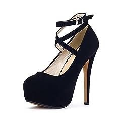 Idea Regalo - Ochenta, scarpe da donna, con cinturino alla caviglia e plateau, con tacco alto, per feste, eleganti, Nero ((Beige Sole) Black), 43 1/3