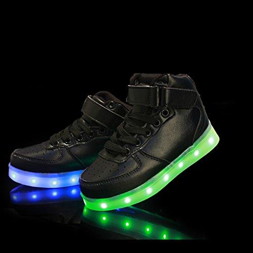 DoGeek Schuhe LED 7 Farbe USB Aufladen Leuchtend Sportschuhe Led Sneaker Turnschuhe Unisex-Erwachsene Herren Damen (Wählen Sie 1 größere Größe) Schwarz