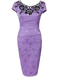 Longue Solide Cocktail en Dentelle Femme Col V Taille Fête Élégante Jupe Grande Crayon Robe Mince 34Rjc5LqA
