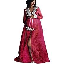 f4163f6fb Conquro Vestido de Malla con Encaje en la Parte Delantera con frunces de  Maternidad Vestido de