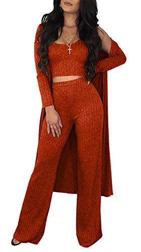 Long Sleeve Knit Pants (Symina Women's Sleeveless Crop Tank Top Flared Leg Long Pants Open Front Knit Cover up Cardigan Two Piece Outfits Jumpsuits)