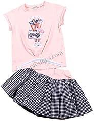 Conjunto de vestido de 2 piezas para niña, de manga corta, falda a cuadros, falda a cuadros, vestido festivo,