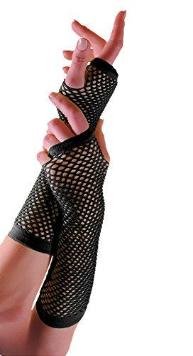 Erwachsene kurze und lange Fingerlose Fisnet Handschuhe Raves Parties 1980s Fancy Dress - Pick & Mix (Schwarz - (Size Plus Handschuhe Schwarze)