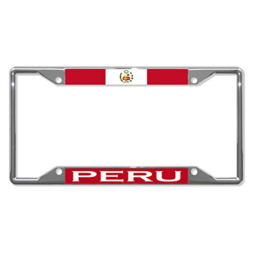 Peru Siegel Flagge Fahne Land Metall Kennzeichenrahmen Taghalter Vier Löcher Perfekt für Männer Frauen Auto Garadge Dekoration Anaheim Laser