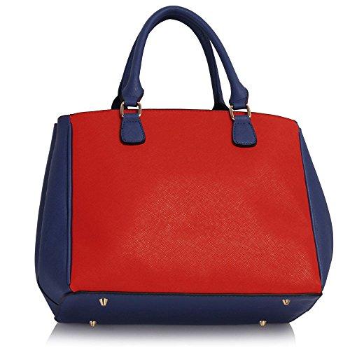 Trendstar Frauen Handtaschen Damenmode Grab Tote Schulter Kunstleder Konstrukteur Blau/Orange