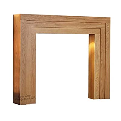 Oak Wood Timber Modern Mantel Mantle Surround Fireplace for Gas or Electric Fire 47""
