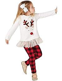 K-youth Conjunto Bebe Niña Navidad Bebe Niño Ropa Bebe Niña Invierno Navidad Manga Larga Recién Nacido Vestido Tutu Camisa Tops + Pantalones Conjunto De Ropa