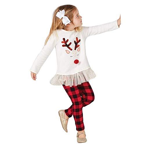 Vêtements Fille,Enfant en Bas âge Bébé Fille Deer T Shirt Tops + Pantalon à Carreaux Ensemble De Vêtements De Noël (2-3ans, Blanc)