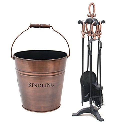 Kupfer behandelt Kamin Companion Tool Zubehör Set und Antik Kupfer Kindling Eimer (Kamin-zubehör Antike)