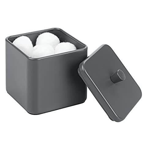 mDesign Cotton Pad Holder - Also Suitable as a Cotton Bud Holder - Bathroom Jars With Lids for Dust Protection - Matte Grey