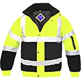 Hi Viz Bomber Jacket Two Tone Reflective Tape Waterproof Quilted Work Jacket Coat High Vis Safety Workwear Security Road Works Concealed Hood Fluorescent Flashing EN471