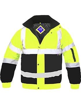 Chaqueta-Cazadora para hombre, talla L, alta visibilidad dos tonos bandas reflectantes impermeable seguridad acolchado...