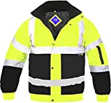 Hi Viz Bomber Jacket Two Tone Reflective Tape Waterproof Quilted Work Jacket Coat High Vis Safety Workwear Security Road Works Concealed Hood Fluorescent Flashing EN471 Yellow/Navy XLarge