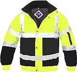 Veste blouson pour hommes haute visibilité deux tons bandes réfléchissantes étanche imperméable matelassé sécurité travail capuche EN471 - Jaune/Bleu marine, XL