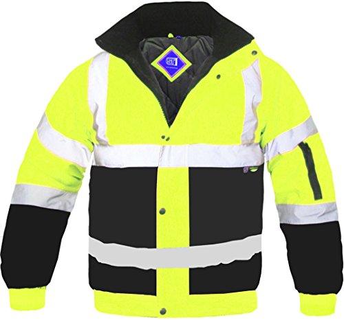 Alta visibilità giacca bomber bicolore nastro riflettente impermeabile trapuntato lavoro cappotto safety abbigliamento sicurezza strada funzionante cappuccio nascosto fluorescente lampeggiante en471