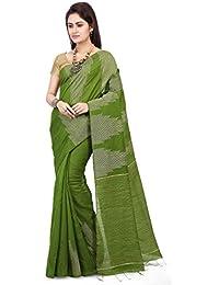 85de2baa4b499d WoodenTant Women's Silk Cotton Saree with Blouse Piece (WTG03, Green)