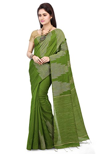 Wooden Tant Women's Silk Cotton Saree With Blouse Piece (Wtg03_Green)