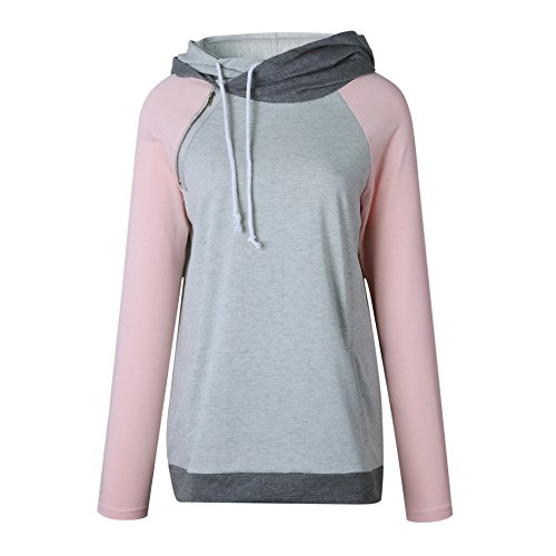 AHOOME Damen Hoodies Sweatshirt Top Langarm Reißverschluss Rollkragen Kapuzenpullover Pullover Outerwear Kapuzenpulli Rosa-2
