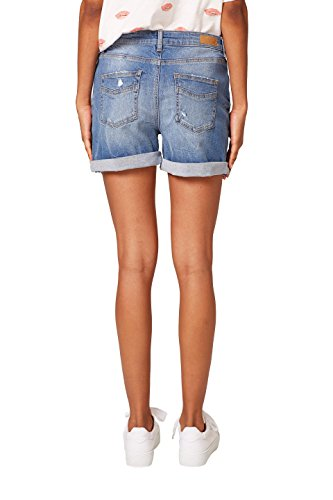 edc by ESPRIT Damen Shorts Blau (Blue Medium Wash 902)