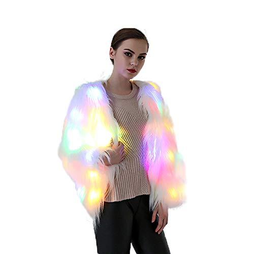 Divand® partito costume pelliccia faux,arcobaleno led costume- donna,inverno outwear luce fino incandescente bagliore scintillante,s