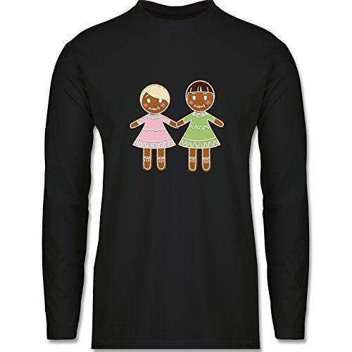 Weihnachten & Silvester - Lebkuchenfrau und -frau - Longsleeve / langärmeliges T-Shirt für Herren Schwarz