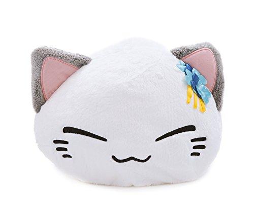 emoneko Sleepy Cat weiß mit Blumen am Ohr Plüsch NEU!!! 40 x 30 cm Plüschtier Plüschfigur Plüschi XXL Kuscheltier Katze (Orange Und Weiße Katze Kostüm)