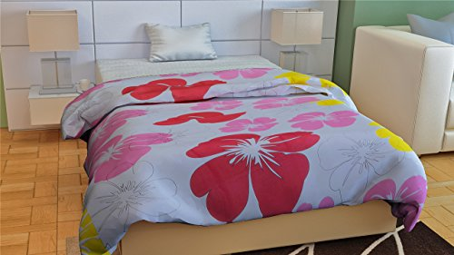 JaipurCrafts Designer Collection Floral Ac Single Microfiber Blanket (54 X 84 Inches, Multicolor)