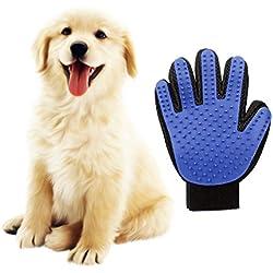 HORIZONTAL Guantes Manopla Masaje para mascotas perros gatos, Retiro del pelo y Aparato de masaje - Masaje de mascotas y Baño de cepillo y Peine