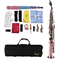 Dilwe Saxophon, Messing Sopran Bb Gerade Horn Natural Shell Key Carve Saxophon Instrument mit Tragetasche Kit