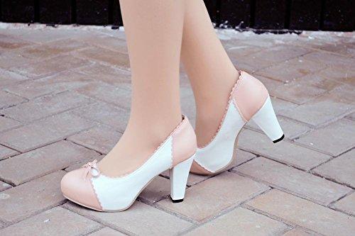Mee Shoes Damen süß runder toe mit Schleife Spitze Geschlossen Prinzessin Pumps mit hohen Absätzen Pink