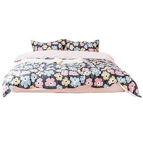 Qinlorgo Bettwäsche-Set 100% Baumwolle Blumenmuster Bettbezug-Set(König) (Rost Twin Tröster)