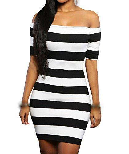 Dissa DSY22686 femme Mini robe cocktail Noir&Blanc