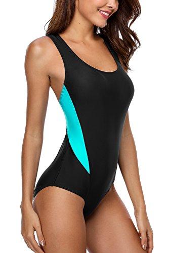 CharmLeaks Damen Einteiliger Sport Badeanzug Essential Endurance Schwimmanzug Basic Schwarz #