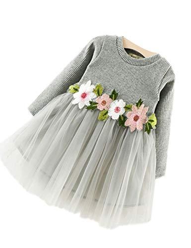 Kostüm Lyrische Kinder - zhxinashu Mädchen Blumen Kleid Langen Ärmeln - Baby Mädchen Party Kleidung 90cm 24Monate (Grau)