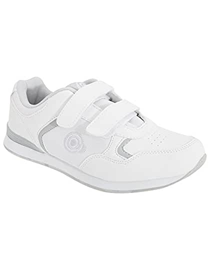 Womens Bowling Trainer Shoes White Bowls Touch Fasten Shoes DEK CLEARANCE