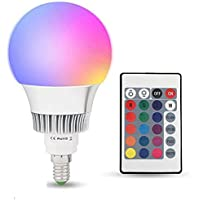 E14 10W RGBW LED Bombilla 16 Color Cambiantes Lámpara con Mando a Distancia, Múltiples Colores Regulable Cambio de Color iluminación Decoración