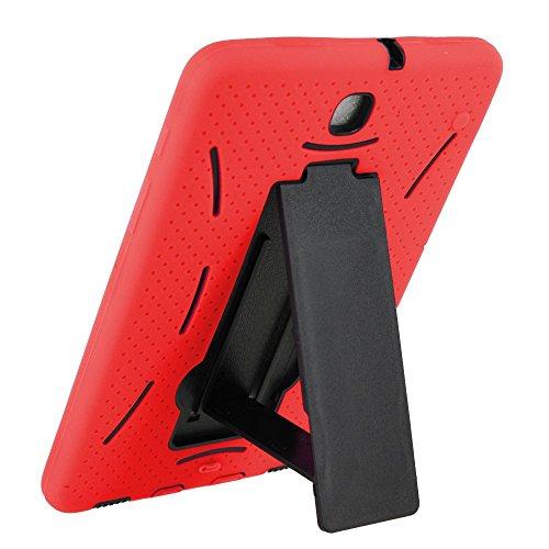 Fall kiq (TM) Heavy Duty Hybrid Silikon Hartplastik Schutzhülle w/Displayschutzfolie für Samsung Galaxy Tab S28.0T715, Schwarz/Rot ()
